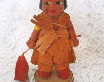 Vintage Doll. Native American Girl Doll. Small Doll In Suede Outfit. Native American Indian Doll. Celluloid Kewpie Doll. Fishing Doll.