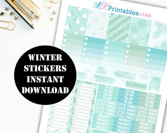 Winter Printable Planner Stickers // Erin Condren Printable / Plum Paper Planner / Winter Printable Digital Download 00119