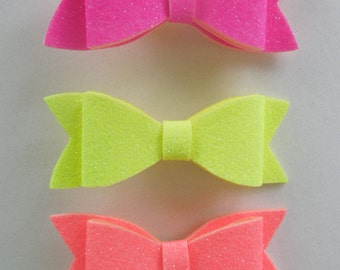 Bright bows,hair clips,neon scarlet,neon pink,neon yellow,clips,bow,felt bow
