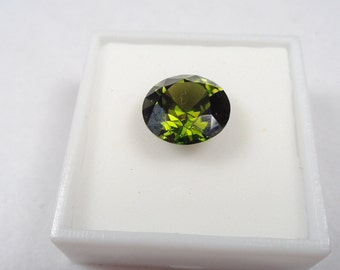 Zircon Loose Gem.  Clean Green Natural Zircon 6.15cts. and 12.5mm Round Loose Gemstone.