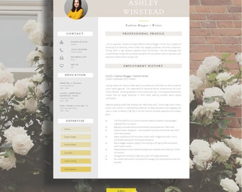 """Resume Template   Creative Resume Template   Two Page Professional Resume + Cover Letter & Advice   Printable Word Resume   The """"Monument"""""""