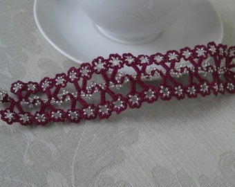croched flower ornament bracelent with beads
