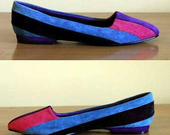 Piatto Color Block Suede Flats, 7