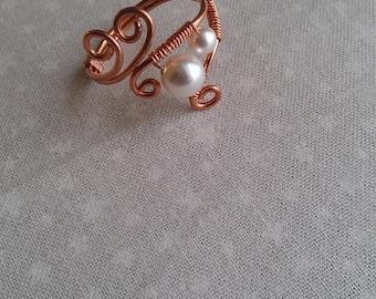copper ring, swarovsky pearl ring, handmade ring, handmade jewelry