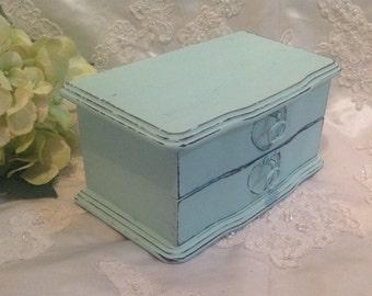 Jewelry Box Aqua Shabby Chic Distressed Jewelry Box Organizer Storage