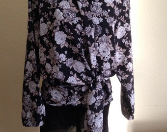 1970s Wrap Blouse in Monochrome Floral
