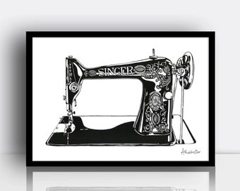 Singer sewing machine print (Limited edition A3 screenprint) - Vintage style