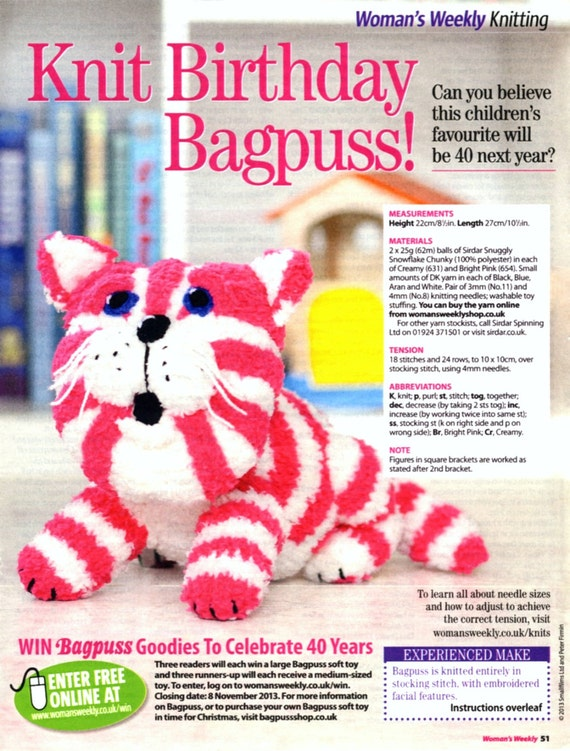Woman s Weekly Knitting Patterns Toys : BAGPUSS Toy Cat Knitting Pattern Womans by PatternaliaVintage