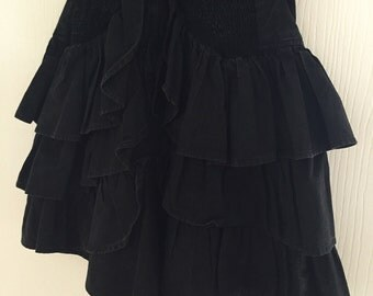 1980's Party Dress // Ra Ra Dress // LBD // Vintage Mini Dress // 80's Tiered Skirt