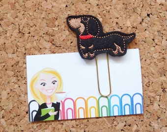 Felt Dachshund Planner Clip | Dog Bookmark | Paper Clip | Cute Brooch Pin | Calendar | Planner Accessories | 601