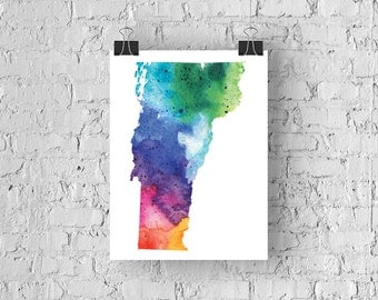Vermont Watercolor Map - Giclée Print of Hand Painted Original Art - 5 Colors to Choose From