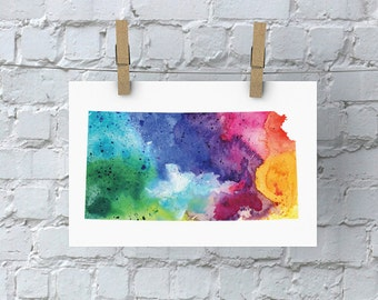 Kansas Watercolor Map - Giclée Print of Hand Painted Original Art - 5 Colors to Choose From