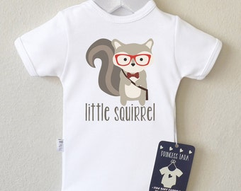 Squirrel Baby Clothes. Hipster short sleeve Baby Bodysuit With 'Little Squirrel' Graphic. Animal Baby Romper. Many Colors available.