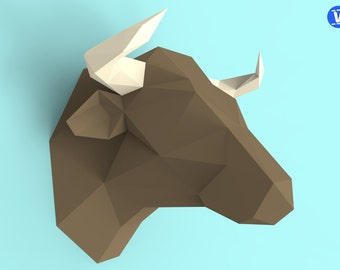 Bull Head Papercraft PDF Pack - 3D Paper Sculpture Template with Instructions - DIY Wall Decoration - Animal Trophy