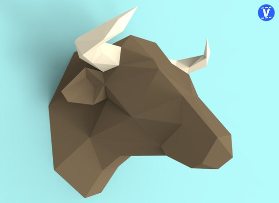 Bull Head Papercraft Pdf Pack D Paper Sculpture Template