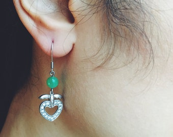 Angle-shaped fish hook earrings, round jade with shinny stones, jade jewelry, Chinese jade-silver jewelry, jade-silver fish hook earrings