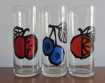 Set of Three Juice Clear Glass Tumbler Cups with different graphic fruits - 1970s