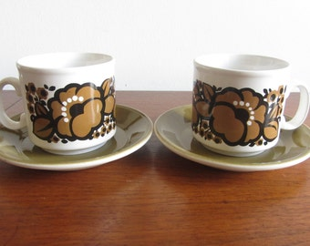 STAFFORDSHIRE POTTERIES - Ironstone Set of Two Tea Cups and Saucers - Brown/Tan floral decoration - Made in England - 1970s