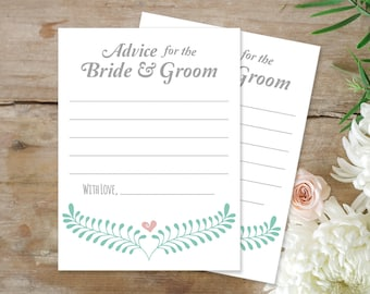 PRINTABLE Advice for the Bride and Groom Cards, Marriage Advice Card INSTANT DOWNLOAD