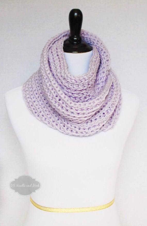 Purple Crochet Infinity Scarf, Plush Chunky Cowl, Lavender Crochet Neck Warmer, Wrap Scarf