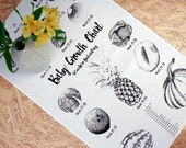 Congratulations on Pregnancy / Expecting / New Mum / Baby Shower Tea Towel - Fruit and Vegetable Print Baby Shower Growth Chart Design