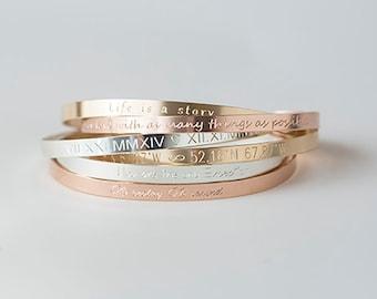Cuff Bracelet,Gold, Rose, Silver, Inspirational Cuff, Engraved Bracelet,Personalized Bracelet,Mantra Band,Monogram Bracelet