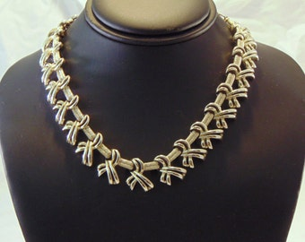 Mid Century Kramer Gold Tone Bow Necklace