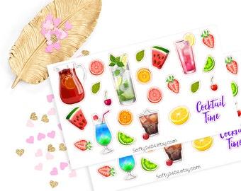 Cocktail sticker, life planner sticker for kikki k, filofax or erin condren
