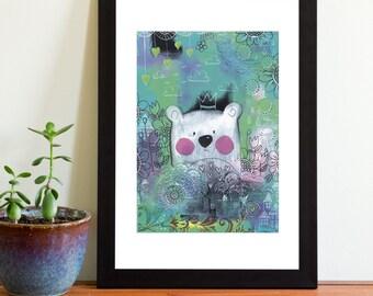 A4 Print Teddy Bear In The Bushes