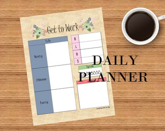 Floral Daily Planner Instant download Digital file