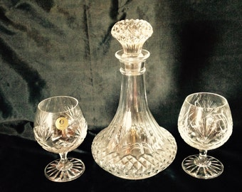 Decanter Set//Decanter And Glasses//Antique Crystal Glasses and Decanter Set//Lead Crystal//Found And Flogged