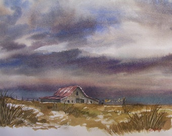 """Out On The Prairie,Storm On The Way.16""""x20"""" Original Watercolor,Not A Print,Free Shipping Code: LUCKY2"""