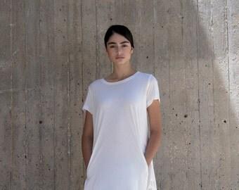 White dress, white cotton dress, short sleeves, white summer dress, avant-garde, structured dress, 'ARCUATE' DRESS