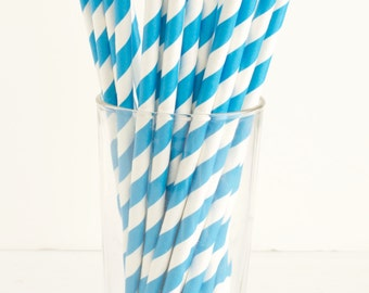 Turquoise Blue Stripe Paper Straws- Set of 25 Diagonal Stripe Paper Straws- Great for Birthday Parties, Baby Showers, and Everyday Use!