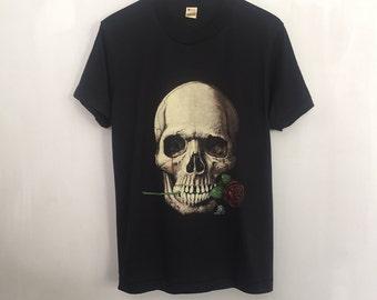 Human Skull shirt 1980s vintage t shirt paper thin macabre art tshirt 80s goth clothing heavy metal t-shirt screen stars 50/50 black medium