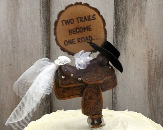Two Trails Become One Road Cake Topper