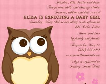 Sweet Owl Pink Invitation, New Baby, Baby Shower, Party Invitation, Birthday, Birth Announcement, Invite, Original Digital Invitation IV1025