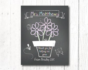 Teacher Gift PRINT, Teacher Appreciation, Personalized, Chalkboard FlowerPot, Digital file, Print yourself, Thankyou for helping me grow!
