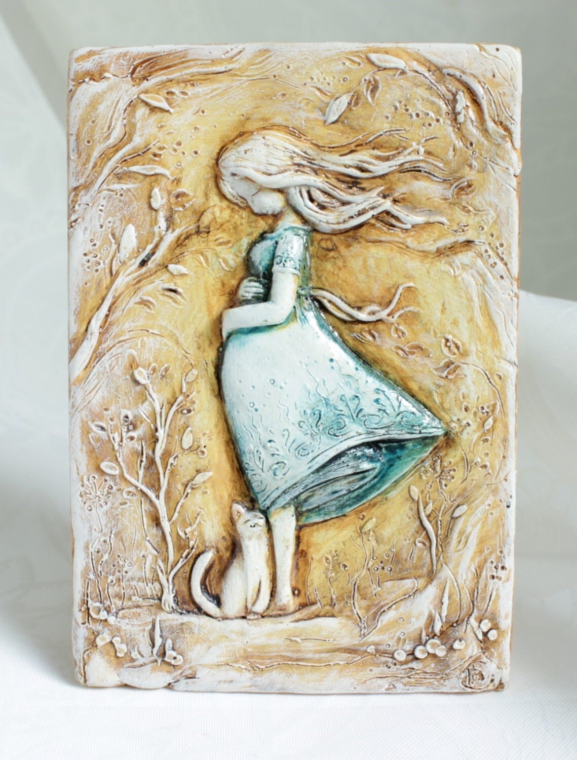 Expectant mom maternity cat decorative tile bas relief relief wall ...