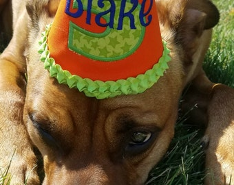 1-9 Personalized Embroidered Puppy Birthday Hat