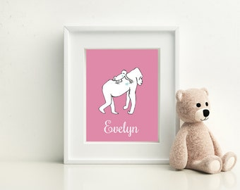 Gorilla Personalized Baby Nursery Print, Gorilla Parent & Child Print - Available in Four Color Options