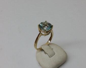 Gold ring with aquamarine 375er nostalgic old GR154