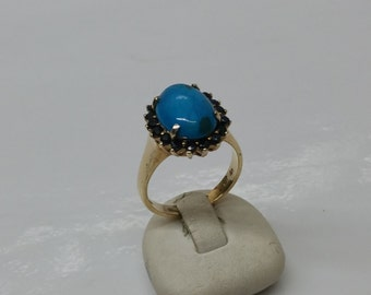 18.3 mm ring Silver 925 gold plated turquoise SR400 old