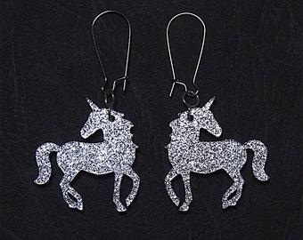 Sparkle Unicorn Dangle Earrings in Silver or Gold, Unicorn Earrings, Unicorn Dangles, Unicorn Jewelry, Fantasy Earrings, Titanium Earrings