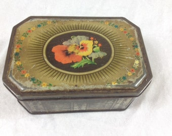 Vintage Viola Flower Tin Canister Beautiful Old Flower Tin Box