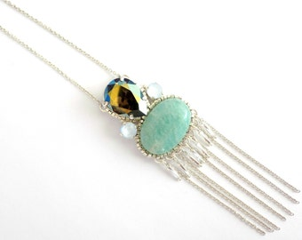 Silver long necklace with embroidered crystal and amazonite stones
