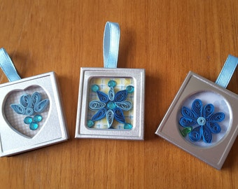 Quilled framed fridge magnets with optional hanging ribbon
