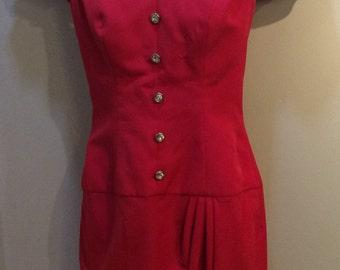 Vintage 1980's Red Short Sleeve Handmade Prom Formal Dress Sz. S Small