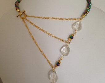 A lovely contemporary rainbow colour Haematite golden necklace.