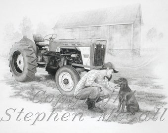 "Giclee fine art print of original ""Morning on the Farm"" drawing, country, farmland, tractor, barn, farmer and dog, barnyard, morning fog"